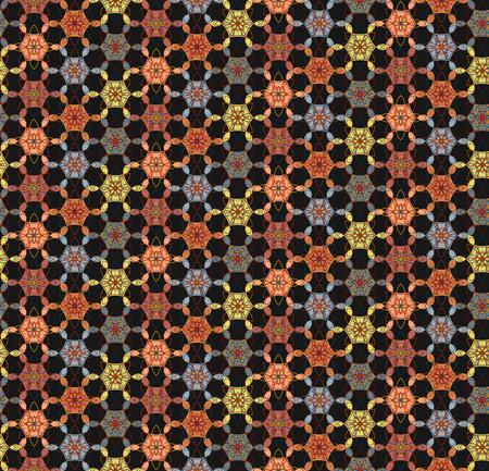 Motif sans soudure floral géométrique abstrait sur fond noir, stile est. Belle texture ethnique de contraste lumineux pour le textile, les papiers peints, les carreaux, les tissus, le papier d?emballage pour cadeaux, la conception web, la Banque d'images - 84445912