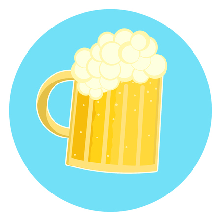 Flat nice glass of foamy yellow beer icon, pint of ale. Nice color traditional german oktoberfest beer holiday sign