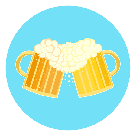 beer stein: Flat colorful two beer glasses toast cheers symbol. Toasting foamy ale pints icon.