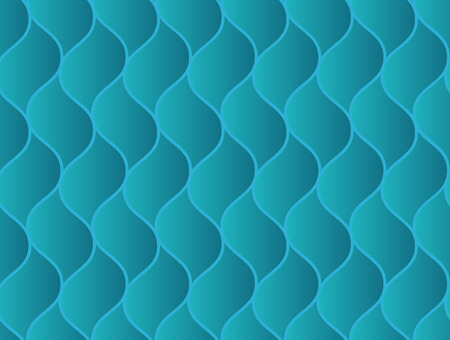 Abstract seamless pattern with blue geometric sink wavy scaly elements. Volumetric marine naval texture for textile, wallpaper, tiles, cloth, gift wrapping paper, cover, banner Illustration