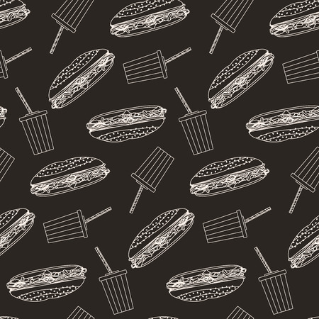 sub menu: Monochrome outline cola and sub sandwich seamless pattern on dark brown background. Nice fashion fast food texture for textile, wallpaper, cover, wrapping paper, banner, bar and cafe menu design