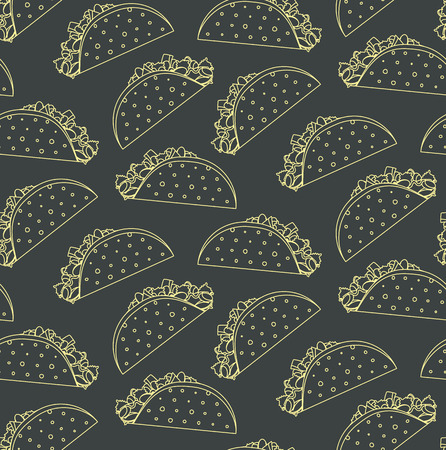 Seamless pattern with mexican fast food outline taco on black background. Nice spanish fastfood texture for textile, wallpaper, cover, banner, bar and cafe menu design
