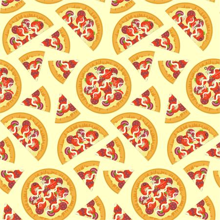 Umreißen Sie Geschnittene Italienische Pizza Auf Nahtlosem Muster ...