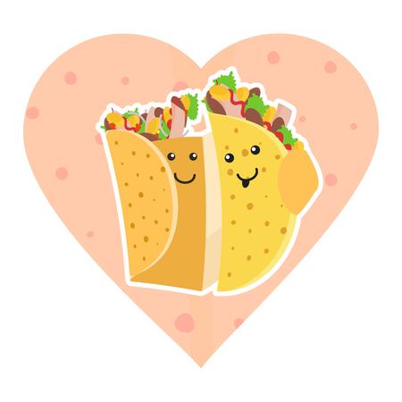 귀여운 멕시코 음식 타코 및 burrito 문자 핑크 하트 토틸라 배경에 서로 껴안은 웃고. 귀여운 패스트 푸드 부리 토와 타코는 카페, 메뉴 디자인을 위해  일러스트
