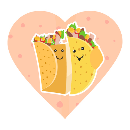 Cute mexican food smiling taco and burrito characters embracing each other on pink heart tortilla background. Cute fast food burritos and tacos love characters embrace each other for cafe, menu design