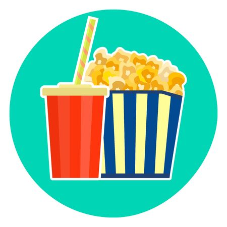 Flat colorful vector lovely fast food couple - cola and yellow caramelized popcorn. Cute fastfood symbol for cafe, bar, restaurant menu and web design