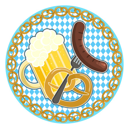 Traditional german oktoberfest holiday symbol with beer, sausage on a fork and pretzel on round bavarian flag background with pretzel frame
