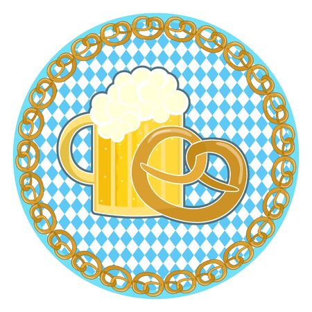 Traditional German Oktoberfest holiday symbol with beer and pretzel on round Bavarian flag background with pretzel frame Illustration