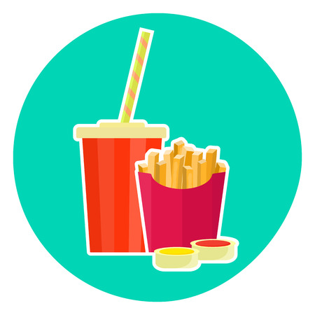Plano de coloridos vector hermosa comida rápida par - cola y papas fritas. Símbolo de fastfood lindo para el café, bar, menú de restaurante y diseño web