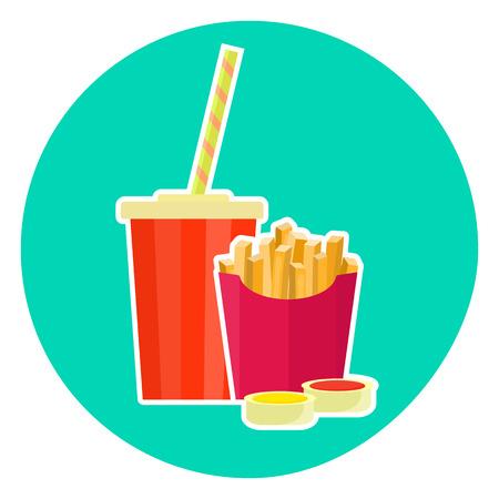 pareja comiendo: Plano de coloridos vector hermosa comida rápida par - cola y papas fritas. Símbolo de fastfood lindo para el café, bar, menú de restaurante y diseño web