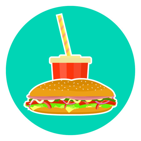 sub menu: Flat colorful vector lovely fast food couple - cola and sub sandwich. Cute fastfood symbol for cafe, bar, restaurant menu and web design Illustration