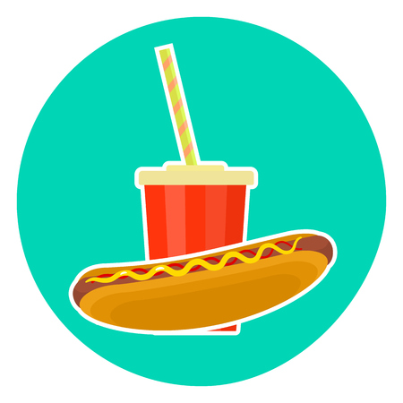 pareja comiendo: Flat colorful vector lovely fast food couple - cola and hotdog. Cute fastfood symbol for cafe, bar, restaurant menu and web design
