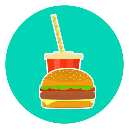 pareja comiendo: Plano colorido vector de comida rápida encantadora pareja - cola y hamburguesa. Símbolo lindo de la hamburguesa del fastfood para el café, la barra, el menú del restaurante y el diseño de la tela Vectores