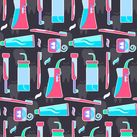 Colorful flat blue and pink tooth hygiene tools pattern. Nice bright dental morning and evening cleaning teeth texture for wrapping paper, textile, cover, background, wallpaper Vectores