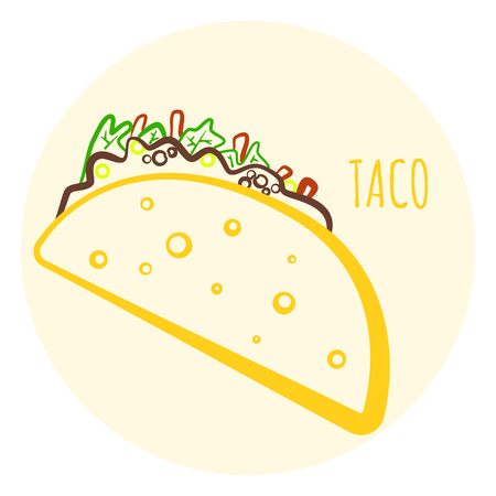 Black Isolated Vector Outline Taco Icon Minimalistic Cartoon