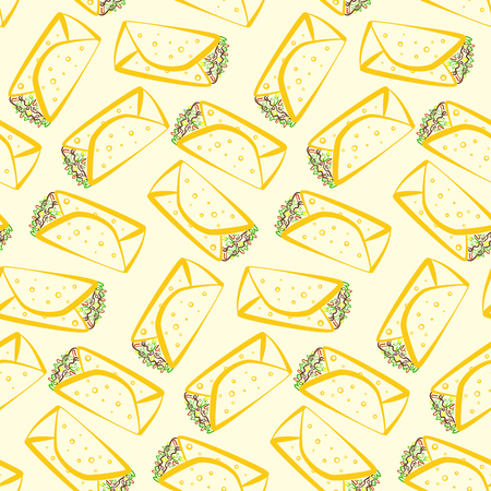 Seamless pattern with colorful cartoon outline burritos. Minimalistic flat linear mexican burrito texture for fast food restaurant or cafe menu design, background, wallpaper, cover, wrapping paper