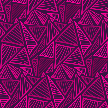 Doodle seamless pattern with scribbled triangles in purple color. Abstract fashion trendy vector texture with hand drawn shapes for textile, wrapping paper, cover, surface, background, wallpaper