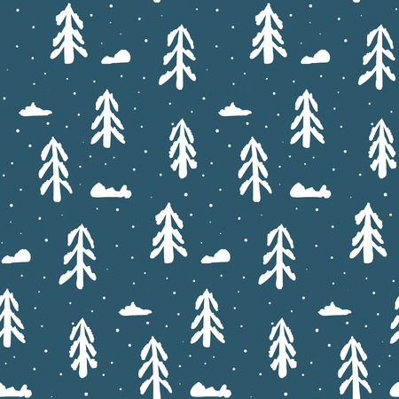 seamless: Christmas seamless pattern with white fir trees and snow. Abstract naive winter new year scandinavian texture for textile, wrapping paper, cover, surface, background, wallpaper Illustration