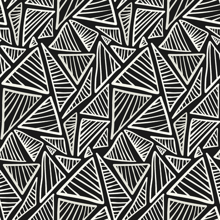 seamless: Monochrome pattern with scribble hand drawn triangles. Vector fashion texture in black and white colors for textile, wrapping paper, cover, surface, wallpaper, background Illustration