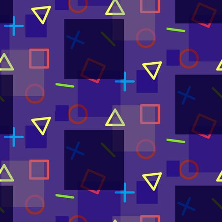 Night seamless pattern in memphis style with geometric shapes. Bright fashion contrast texture for textile, wrapping paper, cover, background, surface, packaging