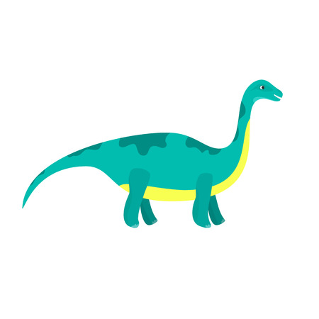 Cute cartoon flat blue diplodocus character. Vector isolated dinosaur illustration for kids book, app, advertisement design
