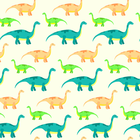 Vector seamless pattern with cute diplodocus. Kids texture with funny dinosaurs for textile, wrapping paper, background, cards, party banners, baby shower, children room wallpaper decoration Illustration