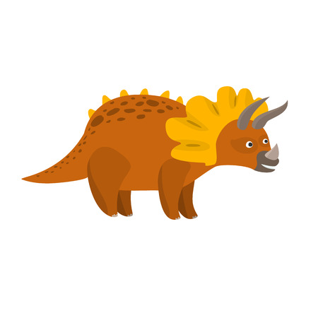 Cute flat cartoon brown triceratops character. Vector isolated dinosaur illustration for kids book, app, advertisement design