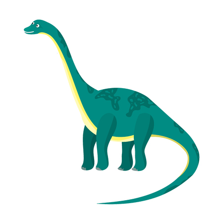 Cute cartoon flat blue or green high diplodocus character. Vector isolated dinosaur with long neck and tail, illustration for kids book, app, advertisement design, label or sticker Illustration