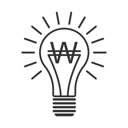 Black Outline Vector Lightbulb With Euro Simple Linear Business