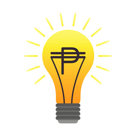 signo de pesos: Colorful vector lightbulb with peso, business idea. Flat finance latin american money symbol with with south american pesos currency sign in the orange bulb