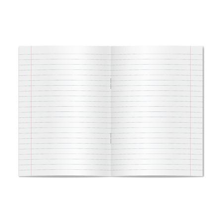 Vector ouvert ouvert cahier d'école gouvernée ligné réaliste avec des marges rouges. Pages blanches lignées vierges de cahier ou de cahier d'exercices avec maquette ou modèle d'agrafes