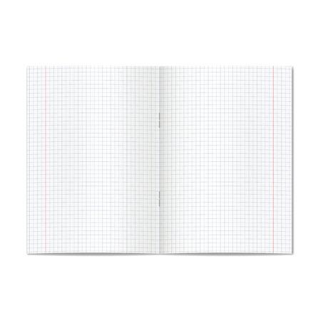 El vector abrió el gráfico realista o el cuaderno gobernado quad de la escuela con los márgenes rojos. Páginas en blanco forradas de cuaderno o libro de ejercicios con maqueta de grapas o plantilla Ilustración de vector