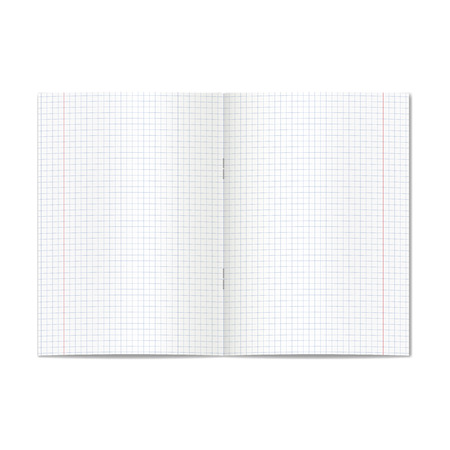 Vector opened realistic graph or quad ruled school copybook with red margins. Blank lined pages of notebook or exercise book with staples mockup or template 向量圖像