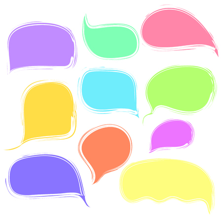 Colorful vector speech or thought bubbles with deckle ragged edges set. Color communication symbols for message advertisement, web design.