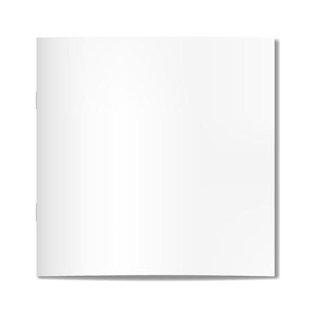 A Vector realistic square closed book, journal or magazine on staples mock-up. Blank front or cover page of sketchbook or notebook template for catalog, brochure design