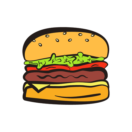 Cartoon colorful hamburger symbol with black outline. Comic flat linear burger icon for fast food restaurant or cafe menu, advertisement, banners Illustration