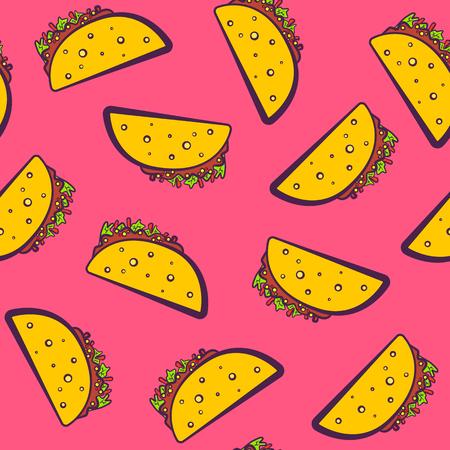 ピンクのイラストをかわいい漫画メキシコ タコスとカラフルなパターン。