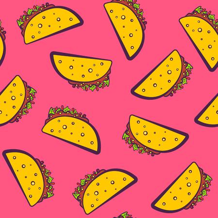 Colorful pattern with cute cartoon Mexican taco on pink illustration.