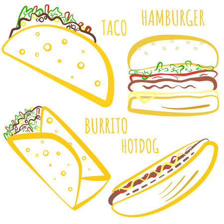 Cute fast food symbols with colored outline. Cartoon linear fastfood including hamburger, tacos, burrito, hot dog for fast food restaurant or cafe menu, advertisement, banners, stickers, logo design Illustration