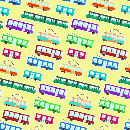 Kids pattern with colorful cartoon flat city transport on light yellow background. Nice children texture with bus, tram, trolley and underground for textile, wrapping paper, wallpaper, cover, package