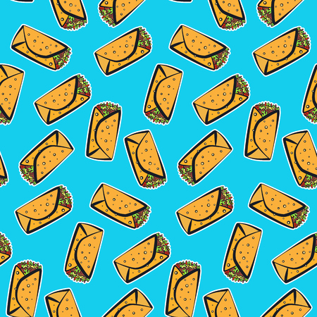 Seamless pattern with cute colorful cartoon mexican burrito on blue background. Comic flat pop art burritos texture for fast food textile, wrapping paper, package, restaurant or cafe menu banners Иллюстрация