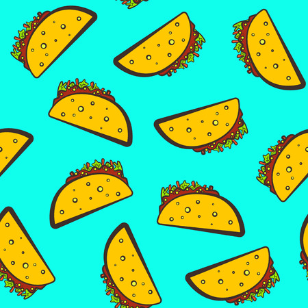 Colorful seamless pattern with cute cartoon mexican taco on blue background. Comic flat pop art tacos texture for fast food textile, wrapping paper, package, restaurant or cafe menu banners. Illustration