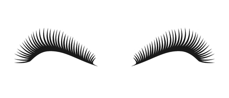 Vector black beautiful long eyelashes symbol, couple of women eye lashes. Eyelash logo for beauty salon advertising, template Illustration