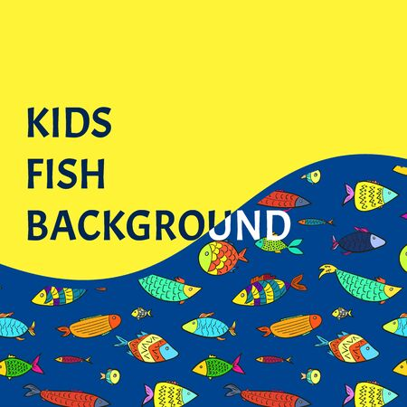 Bright kids background with color cartoon fishes. Vector cute colorful aquarium or river fish and place for text for children museum, travel, zoo advertising, banner, poster, flyer Illustration