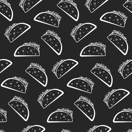 Monochrome seamless pattern with white cartoon mexican taco on black background. Outline tacos texture for fast food textile, wrapping paper, package, restaurant or cafe menu banners