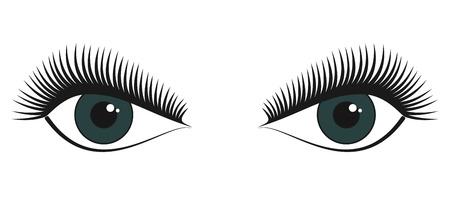 Couple of green female beautiful stylized eyes with long attractive eye lashes looking forward vector