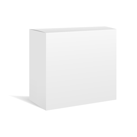 White vector realistic square box package mockup for your design. Blank rectangular container or cardboard template for cosmetic, medicine, software, appliance products Illustration