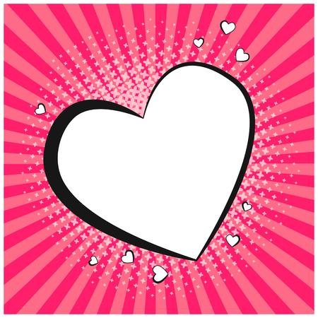 Tedere retro komische tekstballon in de vorm van hart. Lege popart overzicht ballon met florale halftone schaduw en roze strepen voor strips boek, st. valentines advertentie, webdesign, liefde sticker Stock Illustratie