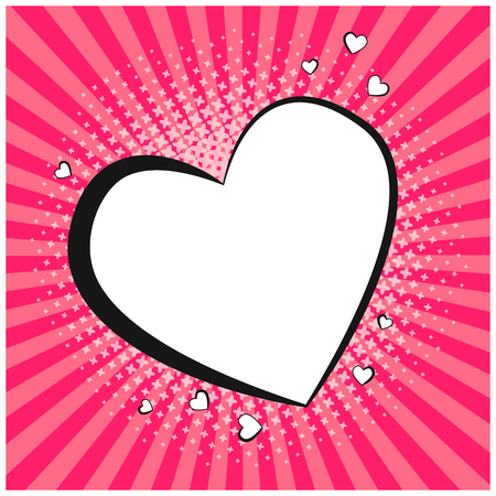 Tender retro comic speech bubble in shape of heart. Blank pop art outline balloon with floral halftone shadow and pink stripes for comics book, st. valentines advertisment, web design, love sticker