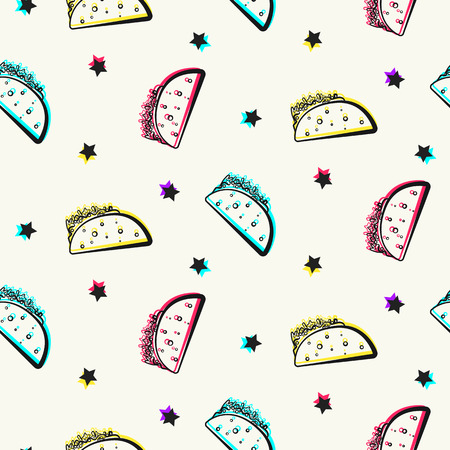 Bright party pattern with tacos and stars. Comic flat mexican colorful outline taco texture for fast food banner, textile, wrapping paper, package, cover